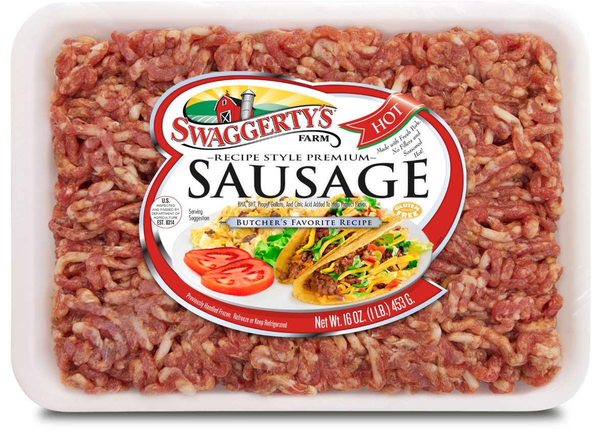 Premium Recipe-Ready Hot Sausage by Swaggerty's Farm® | Butcher's Favorite Recipe | Tray, 16oz