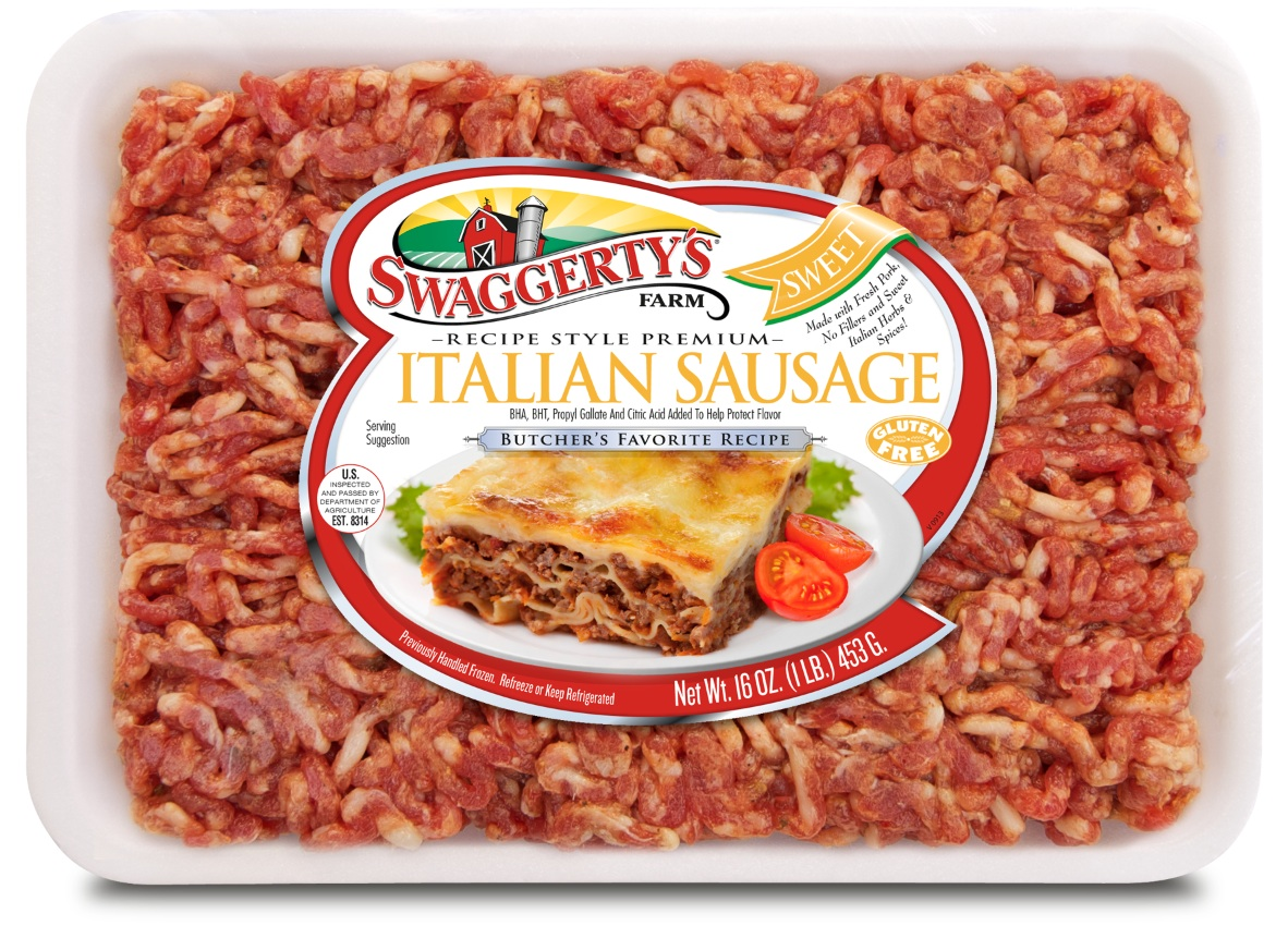 Premium Recipe-Ready Sweet Italian Sausage by Swaggerty's Farm® | Butcher's Favorite Recipe | Tray, 16oz