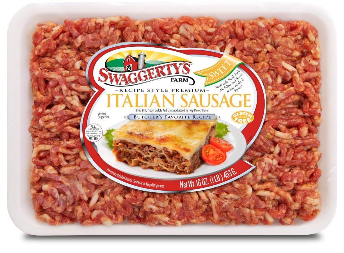 Premium Recipe-Ready Sweet Italian Sausage by Swaggerty's Farm® | Butcher's Favorite Recipe | Tray, 16oz