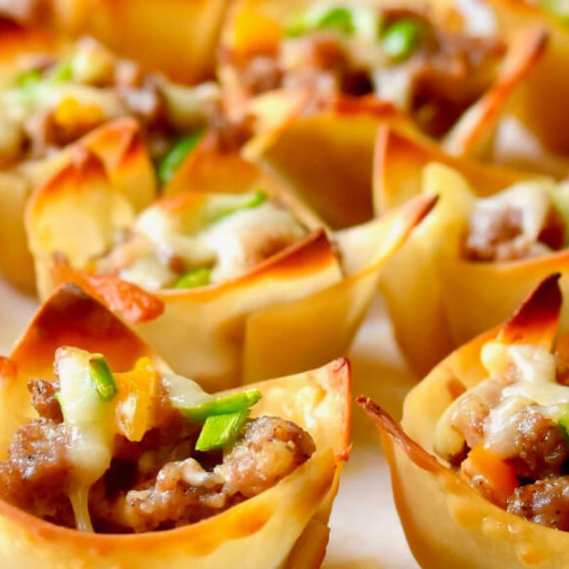 Sausage & Cheese Wontons Recipe by Swaggerty's Farm®