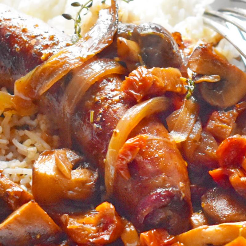 Hot Italian Sausages with Caramelized Onions & Mushrooms Recipe