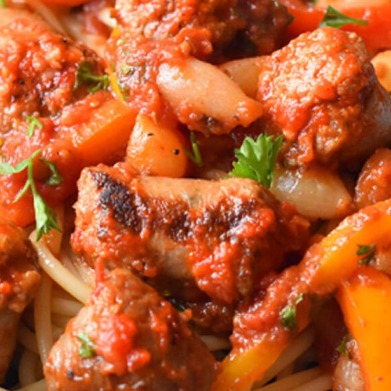 Mild Italian Sausages with Peppers & Pearl Onions in Pasta Sauce Recipe