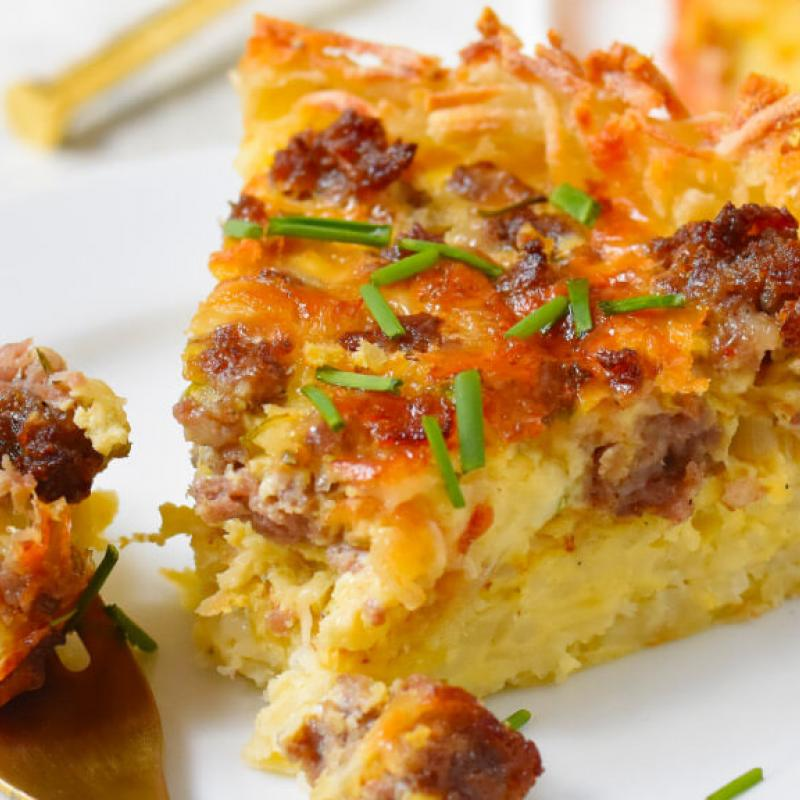 Sausage & Cheese Quiche with a Hash Brown Crust Recipe by Swaggerty's Farm®
