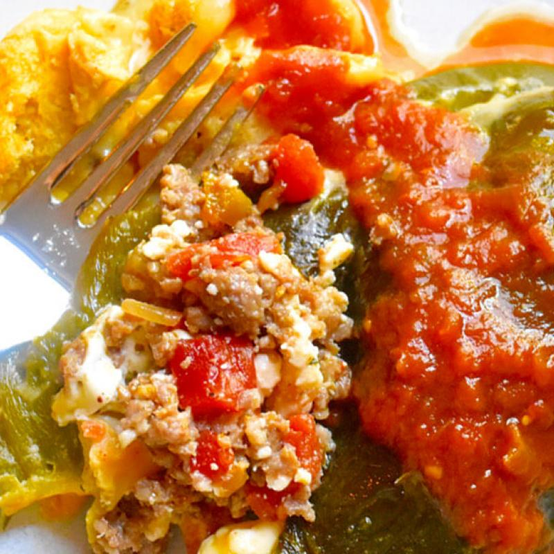 Sausage Stuffed Chiles Rellenos Casserole Recipe by Swaggerty's Farm®