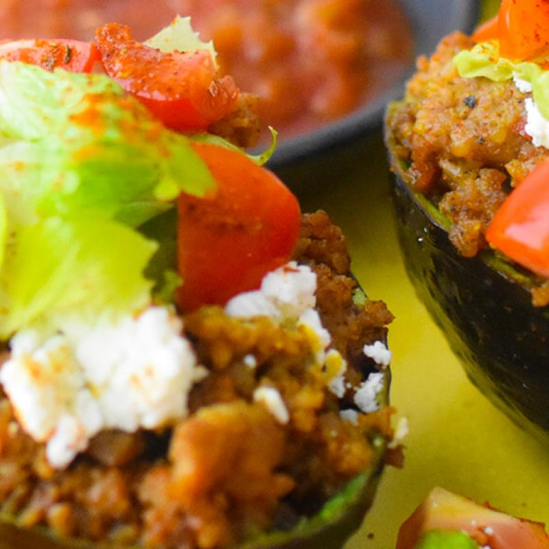 Chili~Lime Sausage Stuffed Avocados Recipe by Swaggerty's Farm®