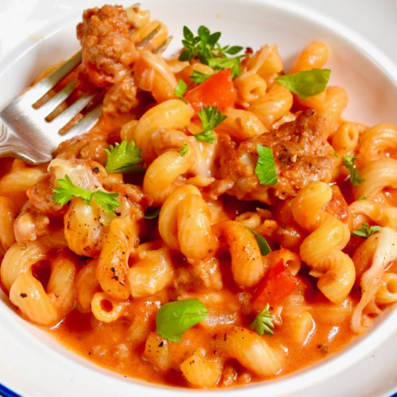 Easy One-Pot Italian Sausage Mac & Cheese Recipe by Swaggerty's Farm®