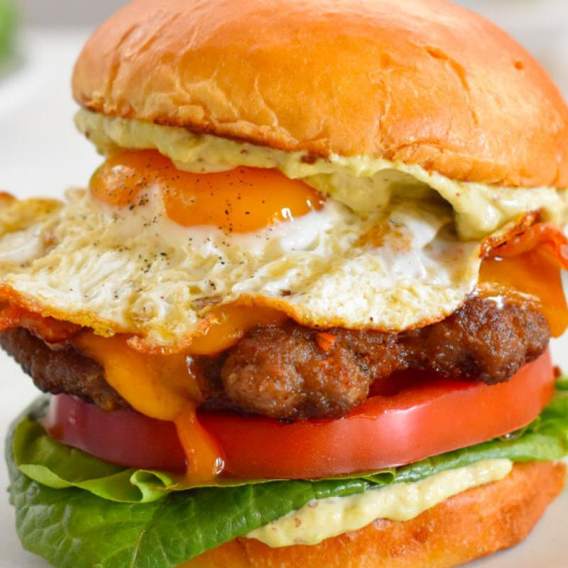 Ultimate Breakfast Burger with Avocado-Mayo Recipe by Swaggerty's Farm®