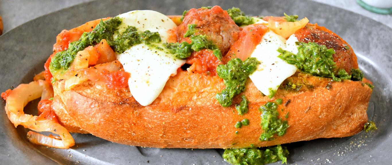 Sausage Meatball Hoagies with Pesto Recipe by Swaggerty's Farm