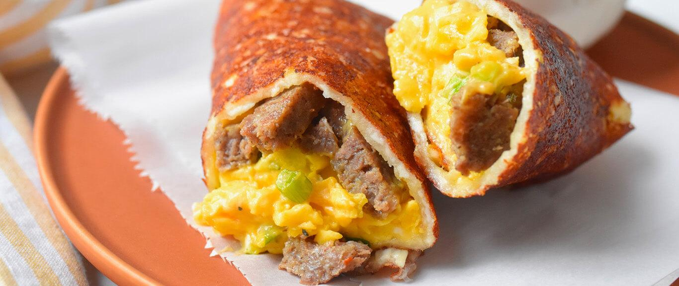 Keto Burrito with Sausage Recipe by Swaggerty's Farm