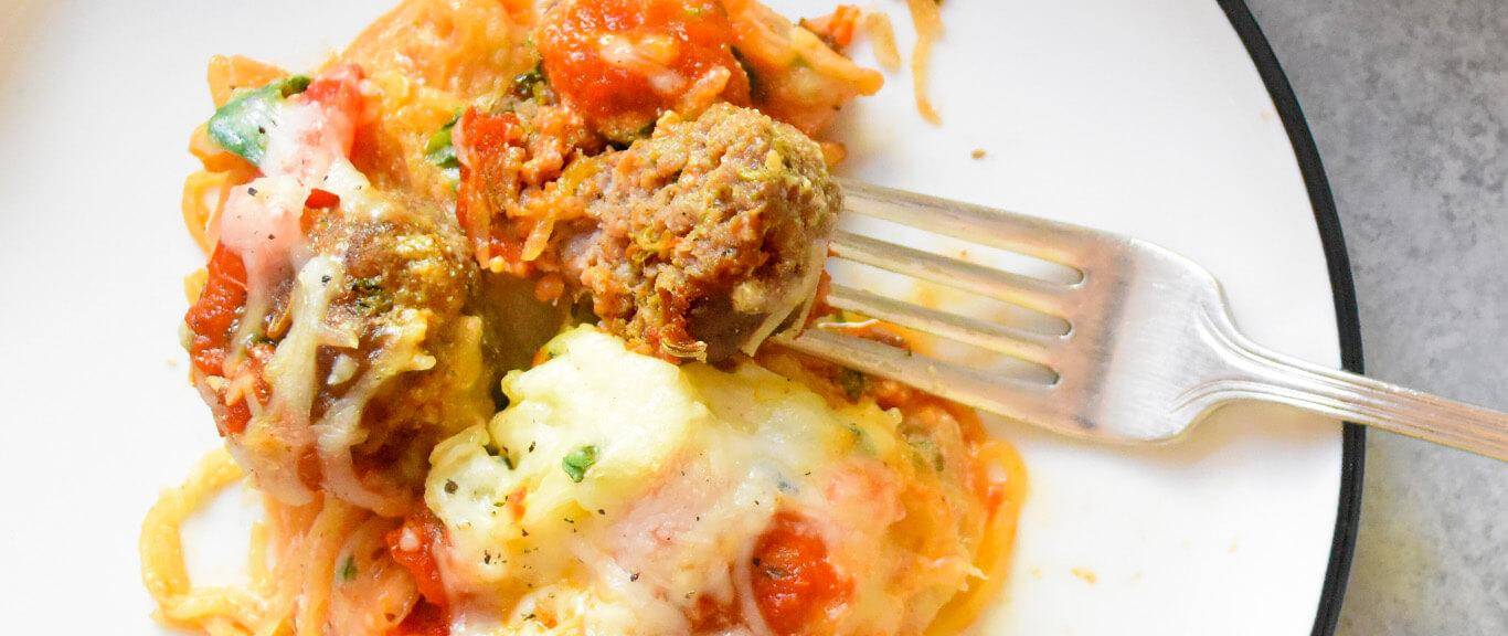 Spaghetti Squash Casserole with Sausage Meatballs Recipe by Swaggerty's Farm®
