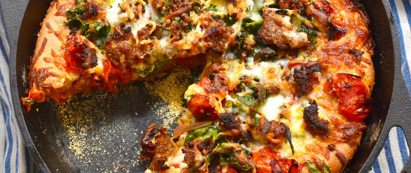 Skillet Pizza Recipe by Swaggerty's Farm®