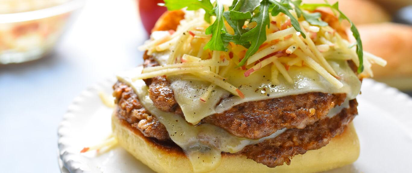 Nutty-Hot Sausage Burgers with Shredded Apples & Arugula Recipe by Swaggerty's Farm®
