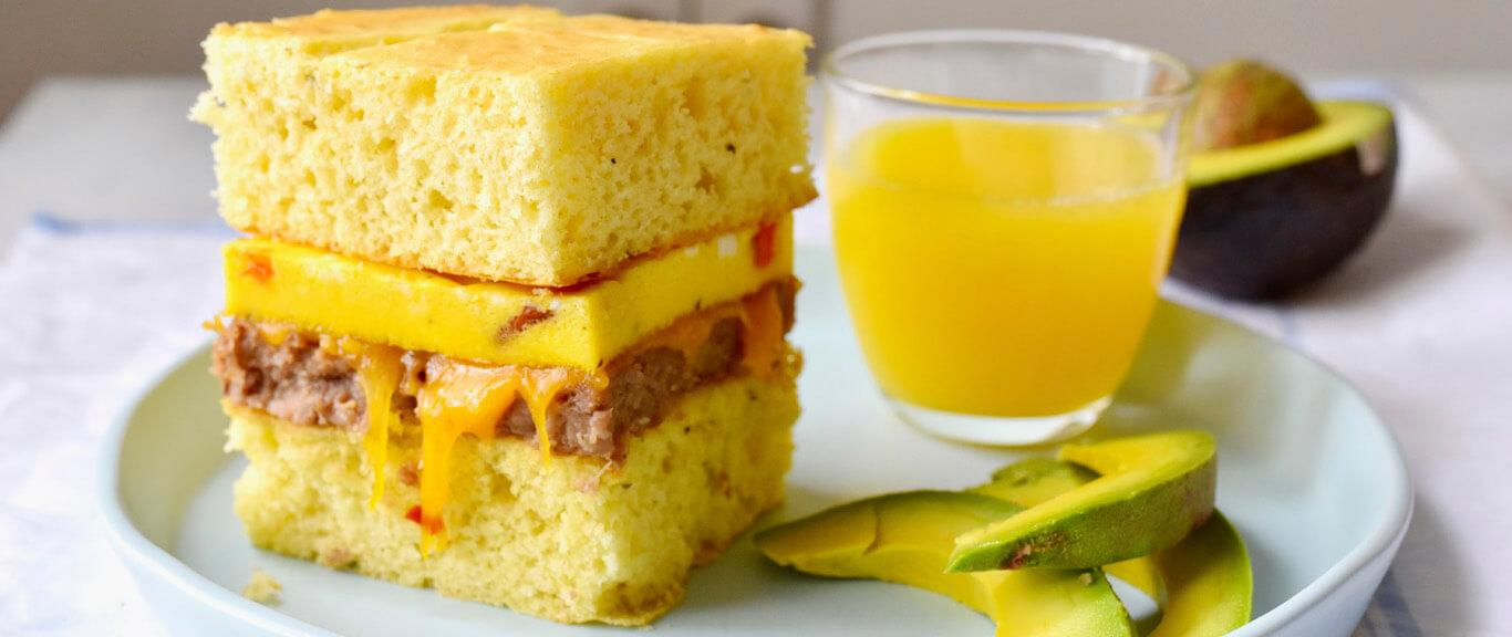Sausage, Cheddar, & Egg Breakfast Squares recipe by Swaggerty's Farm®