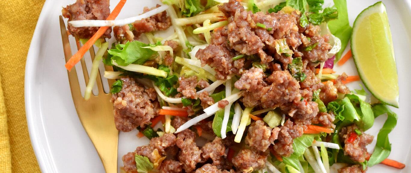 Spicy Asian Slaw with Pork Recipe by Swaggerty's Farm®