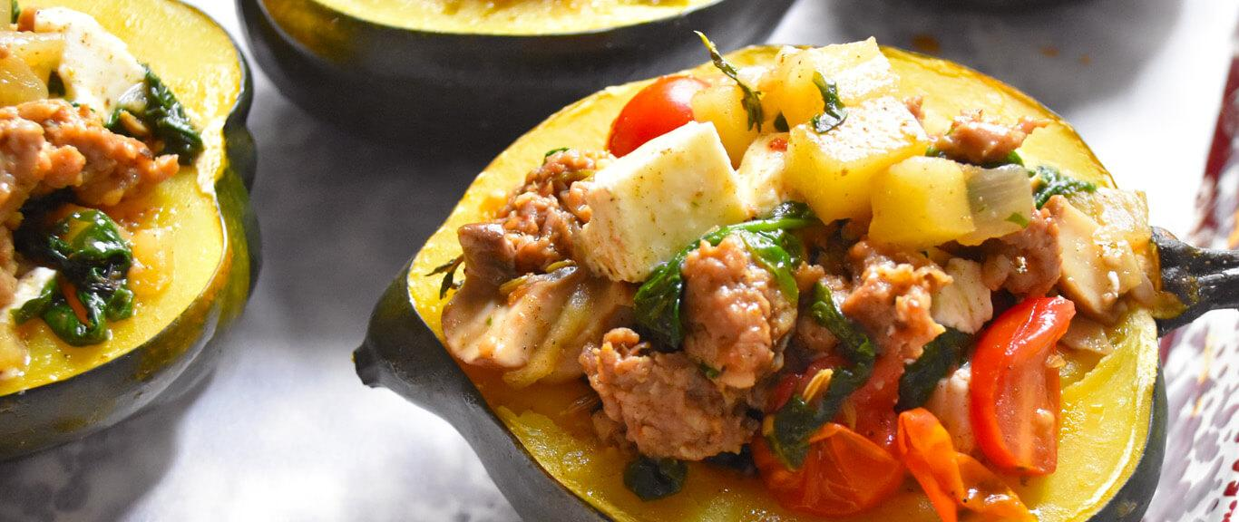 Sausage Stuffed Acorn Squash Recipe by Swaggerty's Farm®